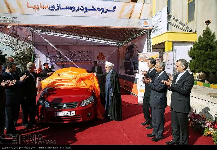 حسن روحانی رئیس جمهوری اسلامی ایران در بازدید از نمایشگاه دستاوردهای صنعت خودروی داخلی، از ساینا خودروی جدید سایپا، موتورهای دیزلی مخصوص سواری و موتورهای توربوشارژ ایران رونمایی کرد.